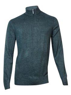 Geoffrey Beene Men's Quarter-Zip Mock-Neck Sweater (Graphite Heather, L)