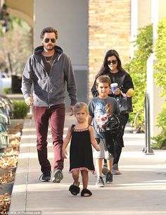 Family time: Kourtney Kardashian and ex Scott Disick took children Mason and Penelope out to the movies on Sunday night in Calabasas while little Reign stayed home with a sitter