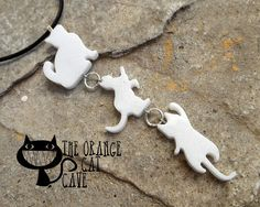 Cat Necklace Black White Grey Climbing Cats Many Colours Resin