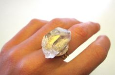 Cosmic Crystal Ring // 22k gold by SKULLPTRESS on Etsy, $32.00
