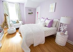 lavender walls with white bedding