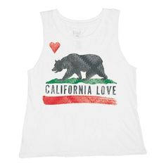 Junior Women's Billabong 'Bears Republic' Graphic Muscle Tee (£15) ❤ liked on Polyvore featuring tops, shirts, tank tops, graphic shirts, billabong tank, white graphic tank top, white top and graphic design shirts