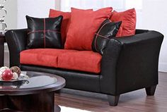 Chelsea Home Furniture Cynthia Loveseat Denver BlackVictory Cardinal ** Click image for more details.