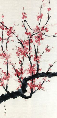 Ume (plum tree) in Chinese shui-mo hua, in Japanese Suibokuga or (Sumi-e), in Korean sumukhwa, in Vietnamese tranh thu'y mac` Symbol Tattoos, Chinese Brush, Chinese Art, Japanese Painting, Chinese Painting, Art Asiatique, Sumi Ink, Korean Art, Japanese Prints