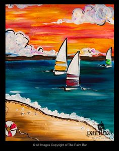 Sunset Sailing Painting...great for teaching dry brushing technique. I could do this as a bulletin boar