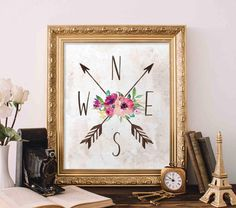 Compass Printable Art, Floral directional art, North South East West printable, floral tribal printable arrow art dorm decor tribal nursery by GracieLouPrintables on Etsy www.etsy.com/...