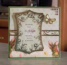 Handmade Birthday Card  Butterfly Wishes Hugs & Kisses! Made using products from the Radiant Roses kit from Hunkydory.