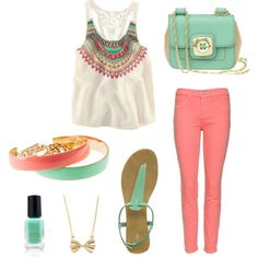Peach & Turquoise!, created by cvnewman on Polyvore