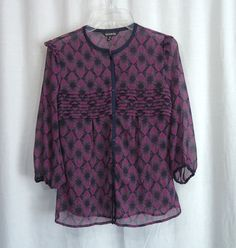 Womens GEORGE Sheer Multi-Color Floral Pleated Chest ¾ Sleeve Top, SZ Small 4-6 #George #Blouse #Casual