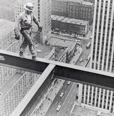 pinterest.com/fra411 #builders - Steel Worker on Socony Mobil Building in NYC, 1955