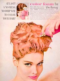 Foam Hair Color, Round Hair Brush, Background Vintage, Vintage Hairstyles, Dyed Hair, Hair Care, Hair Styles, Ads, Beauty