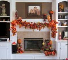 Lovely a fall fireplace mantle decor Harvest Decorations, Seasonal Decor, Holiday Decor, Fall Mantel Decorations, Thanksgiving Decorations, Thanksgiving Mantle, Fall Fireplace Decor, Mantel Ideas, Fireplace Garland