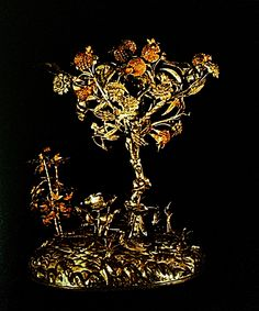 Silver tree with woven gold fruits and an inscribed plaque of presentation to H.M.King Chulalongkorn ( by Peun,wife of Phraya Anukul Tankimjeng).