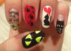 Manicure design. Cat nail art. kitten nail art