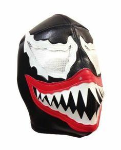 Venom Pro Fit Lucha Libre Wrestling Mask Halloween Costume Black White   eBay