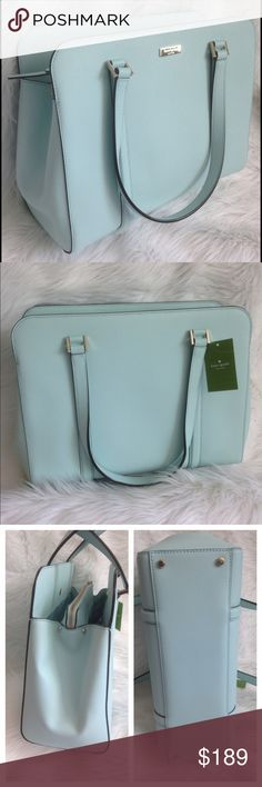 "Kate Spade Miles Newbury Lane in Grace Blue New with tags satchel. Made of Saffiano Leather. 11""x13.5""x5"" with a 9"" handle drop. 14k light gold plated hardware. FREE GIFT INCLUDED💙Retails $358 Kate Spade Bags Satchels"