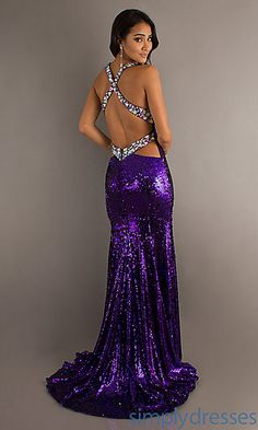 Long Sequin Dress with Slit at PromGirl.com