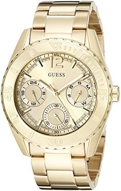 GUESS Womens U0633L1 Sporty GoldTone Watch with MultiFunction Dial ** Be sure to check out this awesome product.