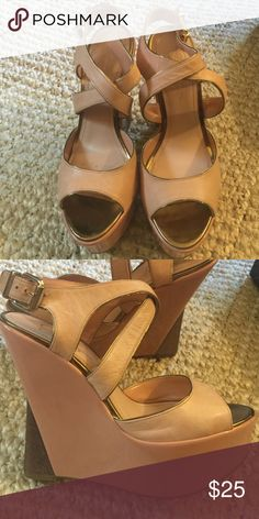 Jessica Simpson wedge Beige wedge with bronze tips on wedge. Super cute. Worn twice. See pics Jessica Simpson Shoes Wedges