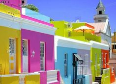 Colorful buildings in Cape Town South Africa http://styledamerican.com/