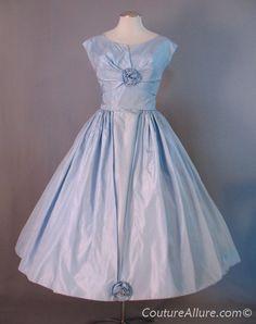 Vintage 50s Dress Party Prom Full Skirt Taffeta Small S bust 36