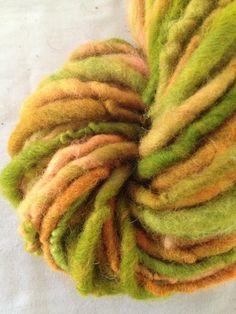 Pumpkin Harvest corriedale wool yarn single ply by girlwithasword