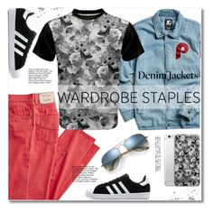 """Wardrobe Staple: Denim Jackets"" by svijetlana ❤ liked on Polyvore featuring Starter, adidas, Ray-Ban, men's fashion, menswear, polyvoreeditorial, denimjackets and WardrobeStaples"