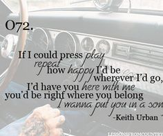 Put You In a Song ~ Keith Urban  <3 This song shall now be in my head for the rest of day.