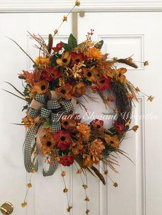 Fall Wreath Fl Country Autumn Front Door Rustic