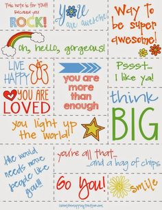 Free Printable R.A.O.K. {Random Acts Of Kindness} Notes to leave everywhere for someone to find when they least expect it. We like to leave ... Kids Lunch Box Notes, Kids Notes, Kindness Notes, Kindness Ideas, Kindness Matters, Kindness Challenge, Kindness Activities, Affirmations For Kids, Boite A Lunch