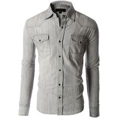 LE3NO Mens Classic Long Sleeve Button Down Chambray Denim Western... ($25) ❤ liked on Polyvore featuring mens, men's clothing, men's shirts and men's casual shirts