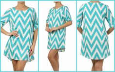 Super cute chevron dress!  #chevron #style #turquoise  http://trendymindy.storenvy.com/products/889110-chevron-print-dress-pre-order