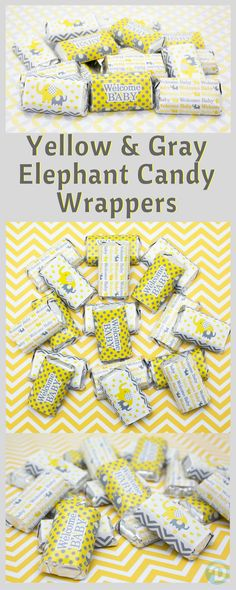 Add these Yellow and Gray Elephant baby shower themed stickers to Hershey's® Miniature Bars for a simple and easy baby shower party favor or table decoration!