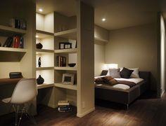 ベッドルーム事例:寝室/書斎(ロフト・アパートメントのように)