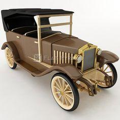 3D Model Wooden Antique Toy Car - 24808