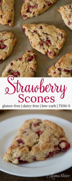 Deliciously moist gl Deliciously moist gluten-free strawberry scones. Perfect for breakfast, brunch, or with tea. Dairy-free, Sugar-free, and Low-carb. Trim Healthy Mama S.