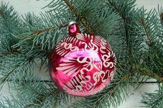 Pink Christmas toy Soviet glass toy Christmas decoration Retro soviet toy Tree…