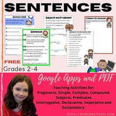 Help your students learn about sentences, subjects, predicates, types of sentences, expand the sentence, imitate the sentence in google apps FREE