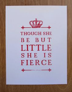 Shakespeare Quote  Girl's Room Nursery Art  // Unique by PetitInk, $16.00