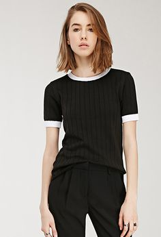 Contrast-Trimmed Sweater | FOREVER21 - 2000115004