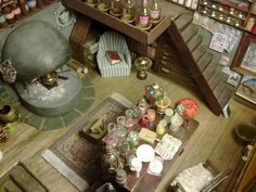 Perspective of the miniature of magic shop inspired of the Howl's Moving Castle film, in scale Great wizard Jenkins Magic shop 006 Harry Potter Miniatures, Castle Rooms, Howls Moving Castle, Magic Shop, Moving House, Anime Shows, Zbrush, Studio Ghibli, Hogwarts