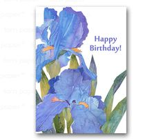 HAPPY BIRTHDAY Card  Irises  Springtime Flowers  by tornpaperco