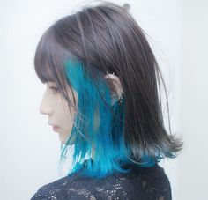Discover recipes, home ideas, style inspiration and other ideas to try. Hair Color Streaks, Hair Color Purple, Hair Dye Colors, Hair Highlights, Blue Streaks, Underdye Hair, Dye My Hair, Peekaboo Hair Colors, Hidden Hair Color