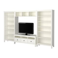 HEMNES TV and entertainment system cabinet with bookshelves from IKEA for the living room. Since the walls would be grey and the wood ceiling has already one kind of wood color, it`s safer to go with white and just add wooden baskets for the selves. 159 970ft