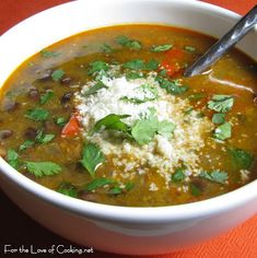 Black Bean and Chorizo Soup | For the Love of Cooking