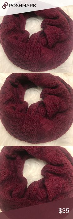 NWT Foreign Exchange Maroon  knit Infiniti scarf Beautiful maroon color. Soft and cozy knit Infiniti scarf. Lovely for the winter time. Elegant and classy look. New without a tag. One size. Foreign Exchange Accessories Scarves & Wraps