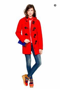 Madewell red duffel coat.  LOVE.