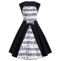 RoseWholesale - Rosewholesale Sleeveless Musical Notes Print Vintage Dress - AdoreWe.com