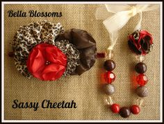 Red/brown Cheetah!  Perfect for fall! Facebook page : https://www.facebook.com/pages/Bella-Blossoms/127196967376543