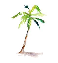 Palmtree Watercolor Painting by Michelle Dujardin (23 x 30,5 cm)
